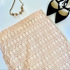 Ann Taylor Pale Pink Pineapple Lace Pencil Skirt
